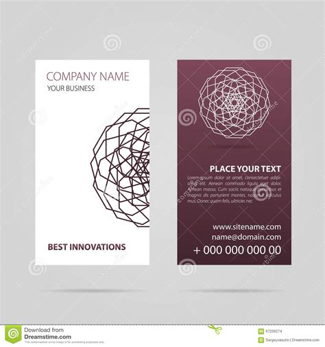 caricature business card templates business card with mandala stock illustration