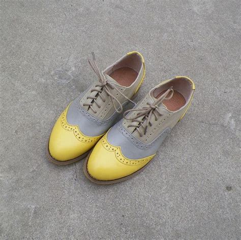 yellow oxford shoes free shipping handmade grey and yellow leather oxford