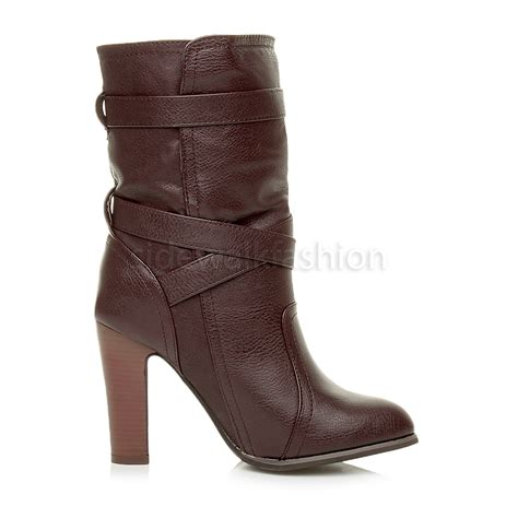 slouch high heel boots womens high block heel strappy slouch pull on ankle