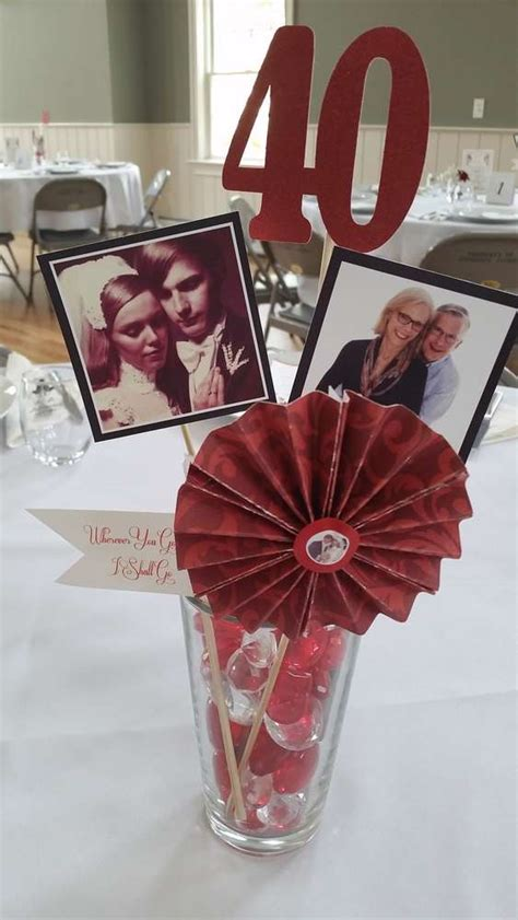 Ruby Anniversary Birthday Party Ideas 40th Wedding Centerpieces For 40th Birthday