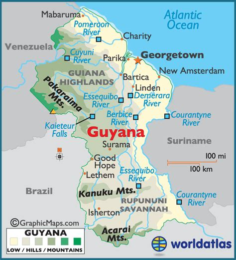 5 themes of geography guyana guyana large color map