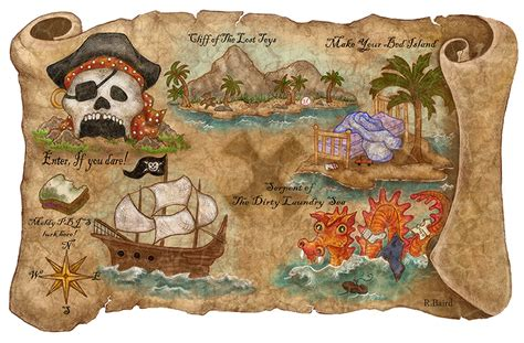 Pirate Themed Bedroom pirates map thedoodlediner