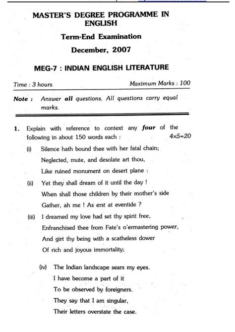 Ignou Mba Question Papers December 2013 by Ignou Meg Question Papers Dec 2018 2019 Studychacha