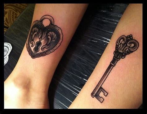 couples heart and key tattoos key to my tattoos