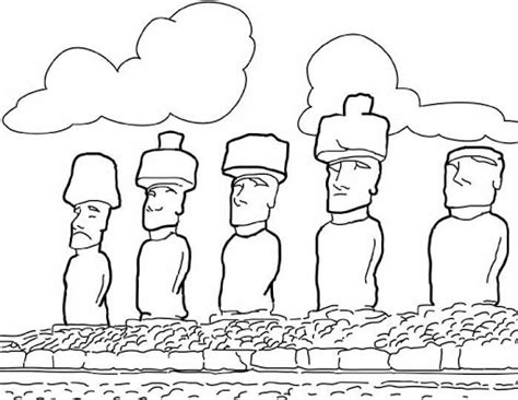 easter island coloring page moai easter island coloring sheet coloring pages