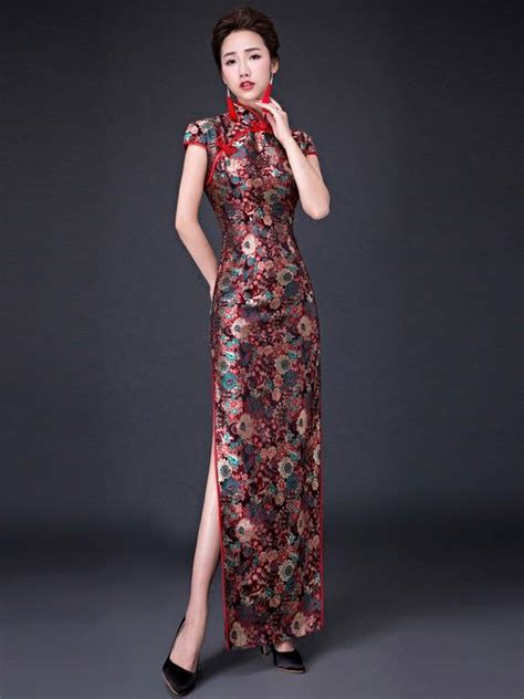 Printed Cheongsam bloom printed ankle length qipao cheongsam prom dress