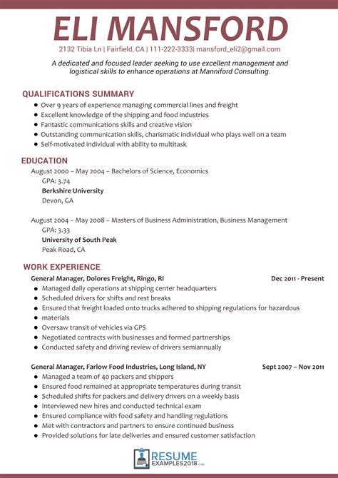 resume format 2018 sle get better results with management resume exles 2018