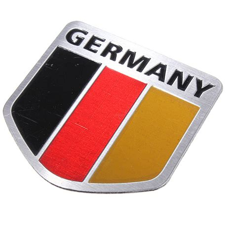 Auto Decal Material by Car Alloy Metal German Germany Flag Chrome Emblem Badge
