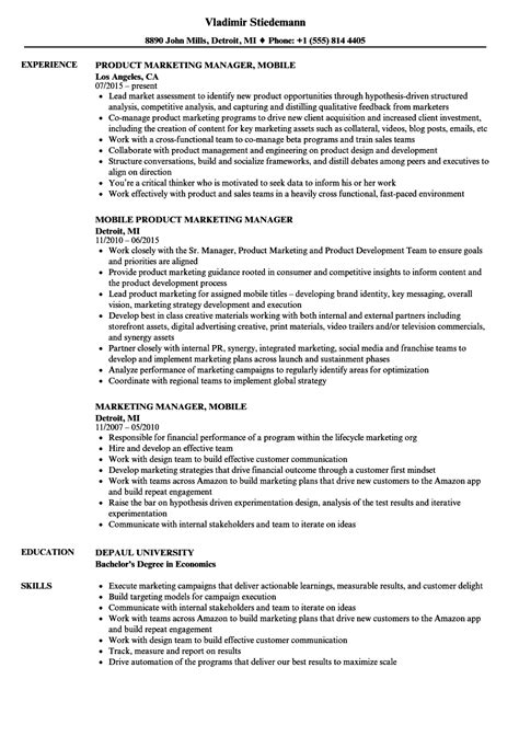 Mobile Resume by Marketing Manager Mobile Resume Sles Velvet