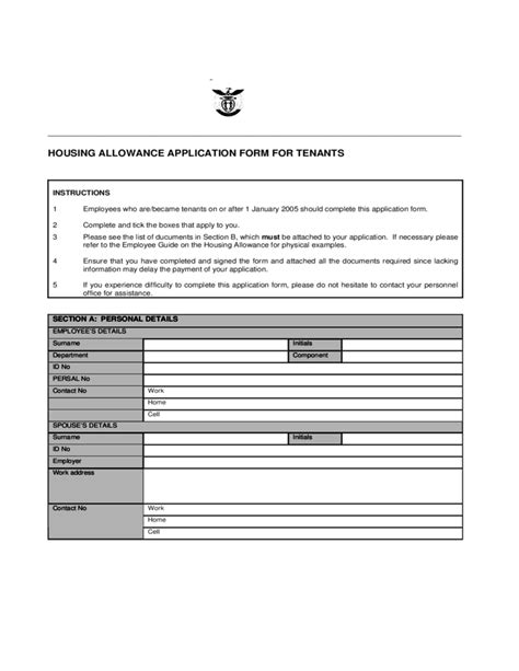 Rent Allowance Section by House Rent Allowance Application Form Free