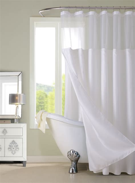 Complete Shower Curtain Set X Polyester Shower Curtain With Detachable Liner White
