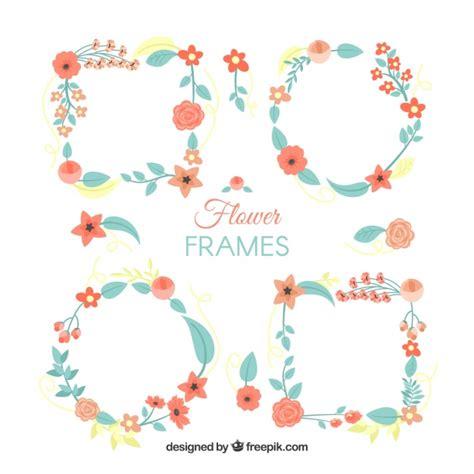 cornici foto gratis set di cornici di fiori in stile piano scaricare vettori