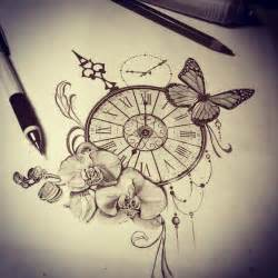 tattoo sketch watch butterfly orchid time tattoo ideas