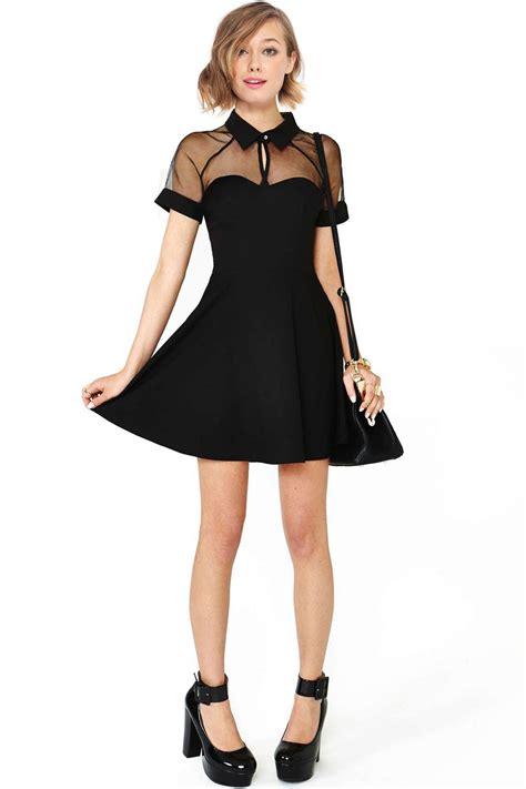 Black Lovely Dress 18717 lovely romwe mesh peak collar black skater dress summer clothes