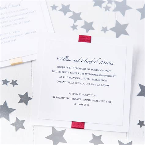 not on the high elegance wedding invitation ruby wedding anniversary elegance invitation by twenty seven notonthehighstreet