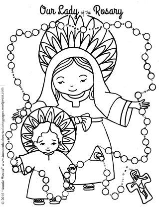 heart and rosary coloring page coloring pages