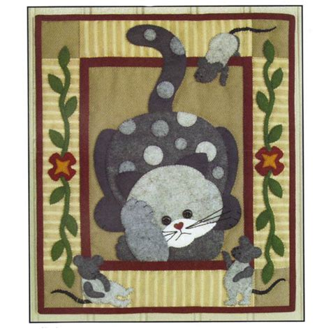 cat applique pattern wall hanging spotty cat quilt kit rachels of greenfield cat spotty