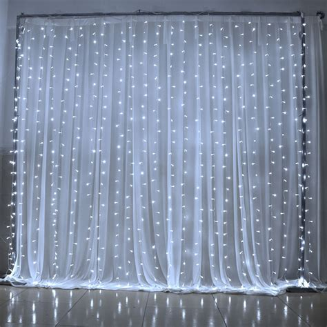 lighted curtains led curtain light 3mx3m 300 led 8 mode blue white for