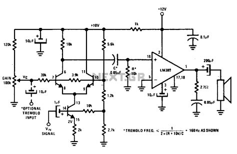 photoresistor gain gt audio gt musical circuits gt voltage controlled lifier or tremolo circuit l12986 next gr