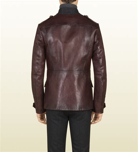 Guc Ci Leather lyst gucci shiny leather jacket in for
