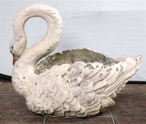 pair of large garden swan planters for sale at 1stdibs