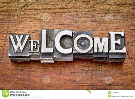 Welcome Style It Less by Welcome Word In Metal Type Stock Photo Image 47049443
