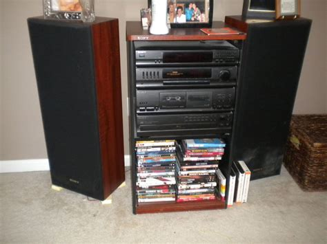 sony home stereo system w cabinet and speakers on popscreen