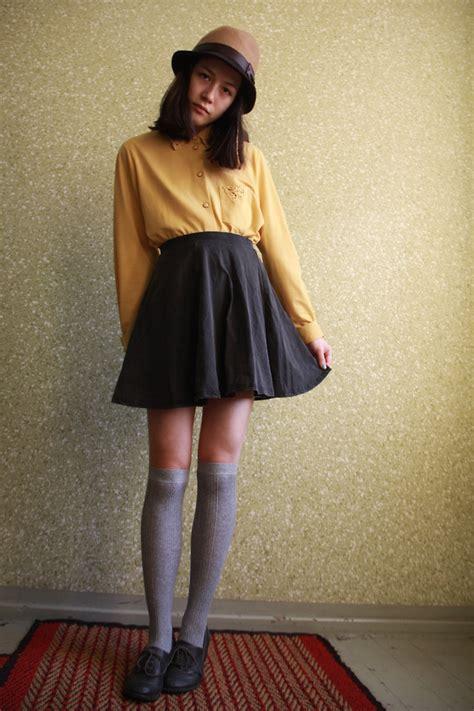 elene h vintage shirt primark skirt knee socks hat