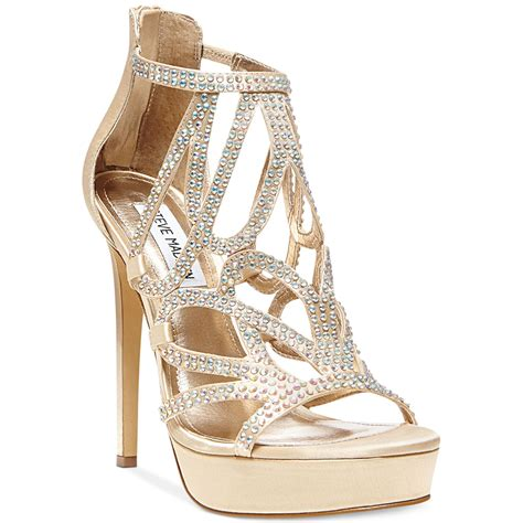 steve madden singer platform evening sandals in metallic