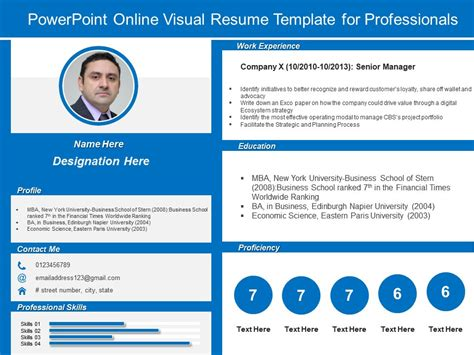 visual resume template for powerpoint powerpoint visual resume template for professionals powerpoint presentation sle