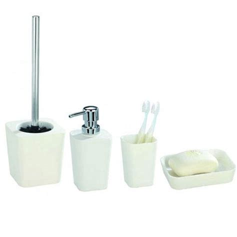White Bathroom Accessories Sets Wenko Rainbow Bathroom Accessories Set White At Plumbing Uk