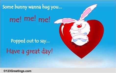 bunny hug    great day ecards greeting cards