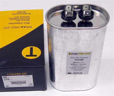 motor run capacitor furnace titanpro toc60 hvac oval motor run capacitor 60 mfd uf 370 volts ebay