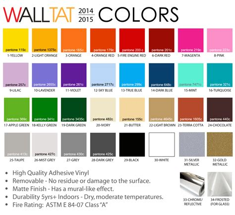 color categories wall decals walltat color chart
