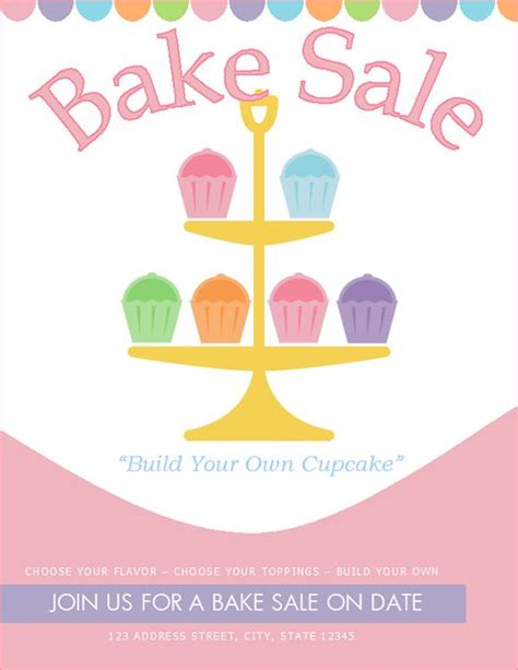 bake flyer template free bake sale flyer template http bakesaleflyers build your own cupcake bake sale stand