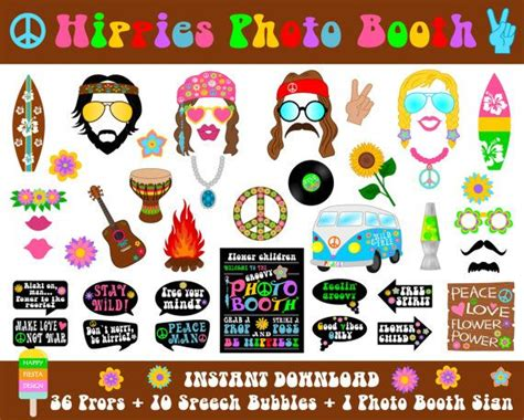 free printable hippie photo booth props printable hippies photo booth props photo booth sign