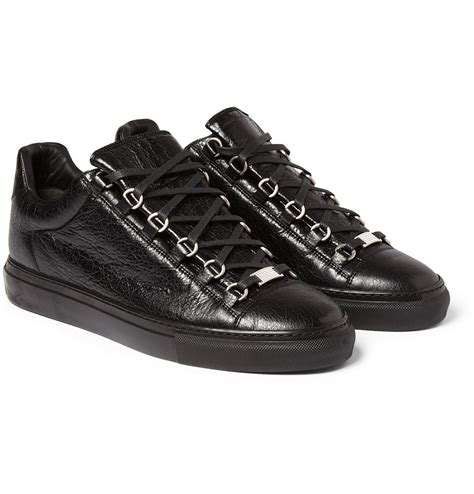 balenciaga black sneakers balenciaga arena creased leather sneakers in black for