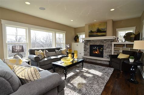 Living Room In Grey And Yellow Gray And Yellow Color Palette Lends Sophistication To This