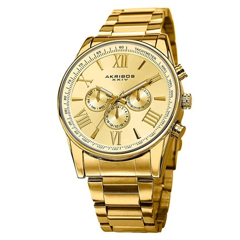 gold watches akribos xxiv s ak736yg ultimate swiss multifunction gold tone stainless steel
