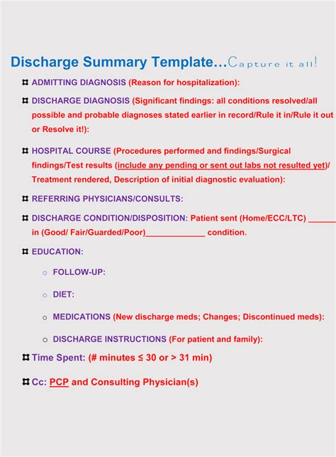 11 Free Discharge Summary Forms In General Format Hospital Discharge Template Free