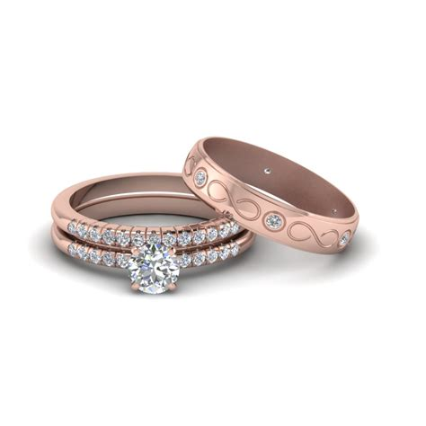 wedding rings him cut daimond trio matching wedding set for him and