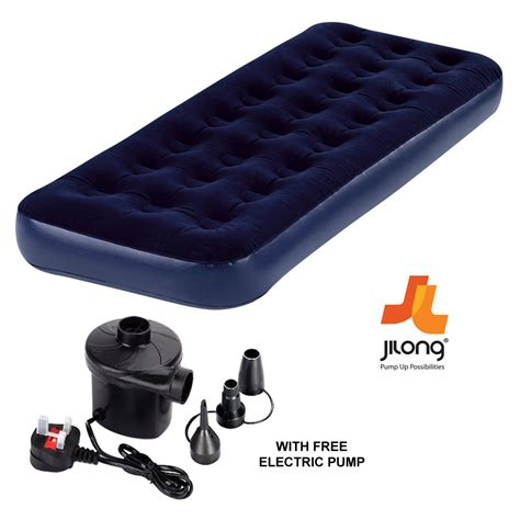 new jilong single flocked air bed cing mattress free electric