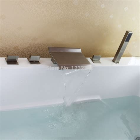 bathtub waterfall faucets free shipping brushed nickel clour 5 pcs widespread