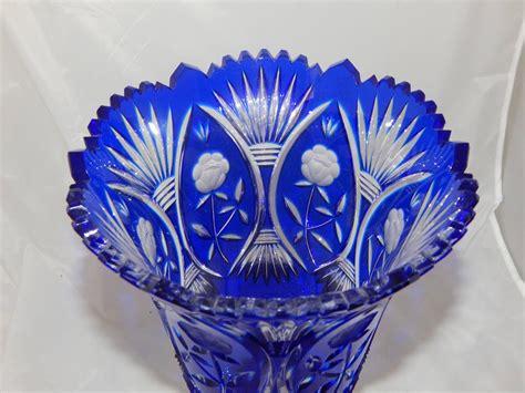 beautiful cobalt blue cut glass vase for sale at 1stdibs