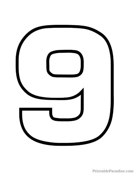 printable numbers black and white printable bubble number 9 outline numeros pinterest