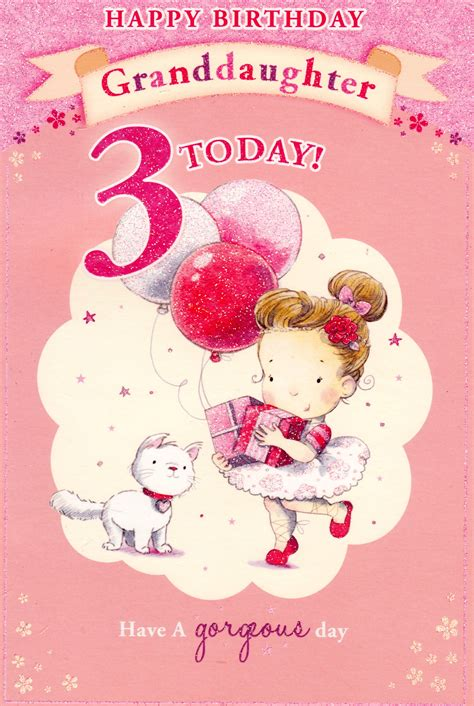Happy 3rd Birthday Quotes For My Happy Birthday Granddaughter 3 Today Card Cards Crazy