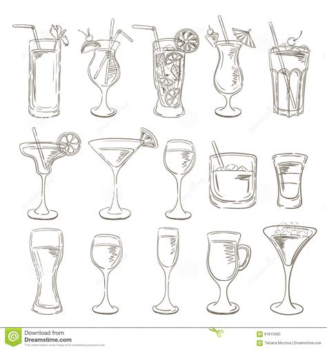 cocktail sketch cocktails collection vector set of sketch cocktails and