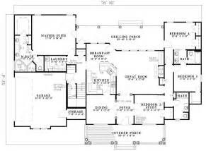 house plans one level 2500 sq ft one level 4 bedroom house plans floor plan of country southern house plan