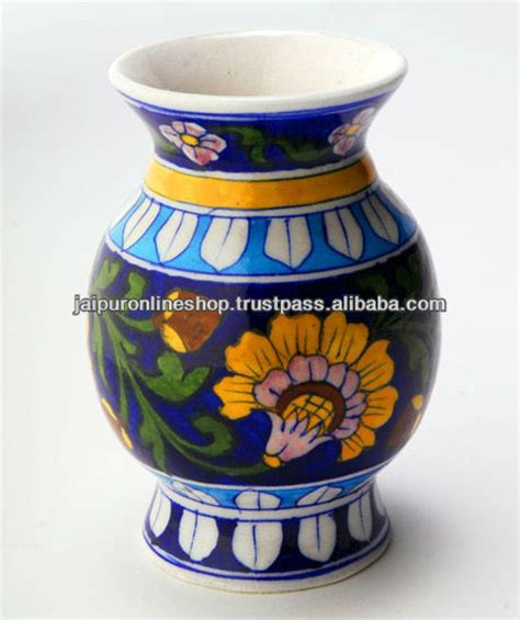 Handmade Pots Design - indian blue pottery flower vase painted rich look