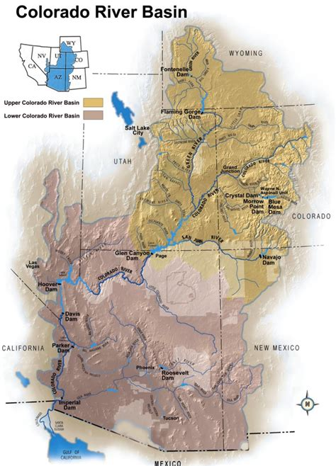 map grand colorado river 6a reservoirs on the colorado river
